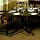 T.10 A Mahogany Twin Pedestal Table 98 inches x 44 inches. Includes an 18 inches wide spare leaf. Placing for 10.